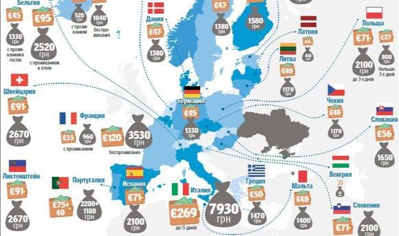 Карта для українців: скільки грошей брати до країн ЄС і за що можуть оштрафувати