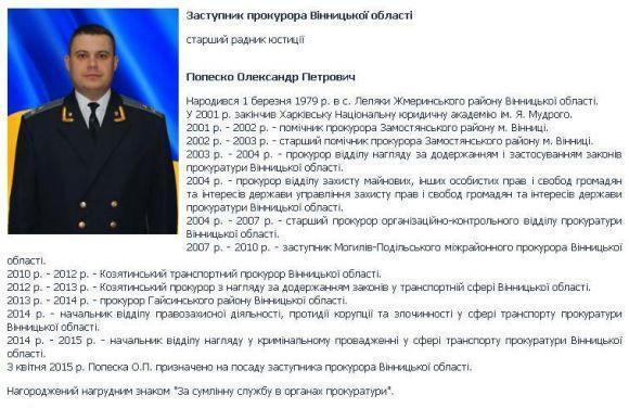 Правоохоронці затримали заступника прокурора Вінницької області