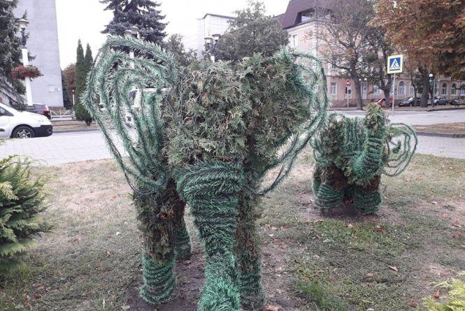 """""""Ту гидоту вже прибрали"""": що кажуть комунальники про штучні прикраси на слонах в центрі Хмельницького"""