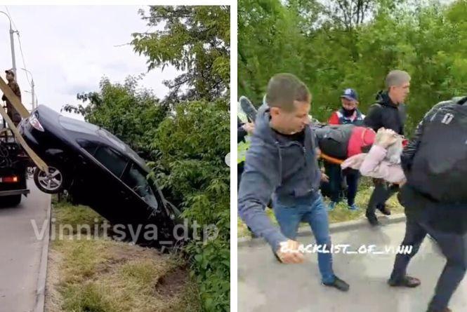 ДТП біля Київського мосту: «Мазда» з'їхала до річки, а перед тим збила жінку-пішохода