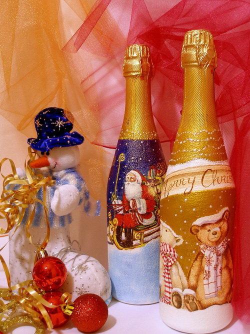 Декупаж пляшки шампанського на Новий рік